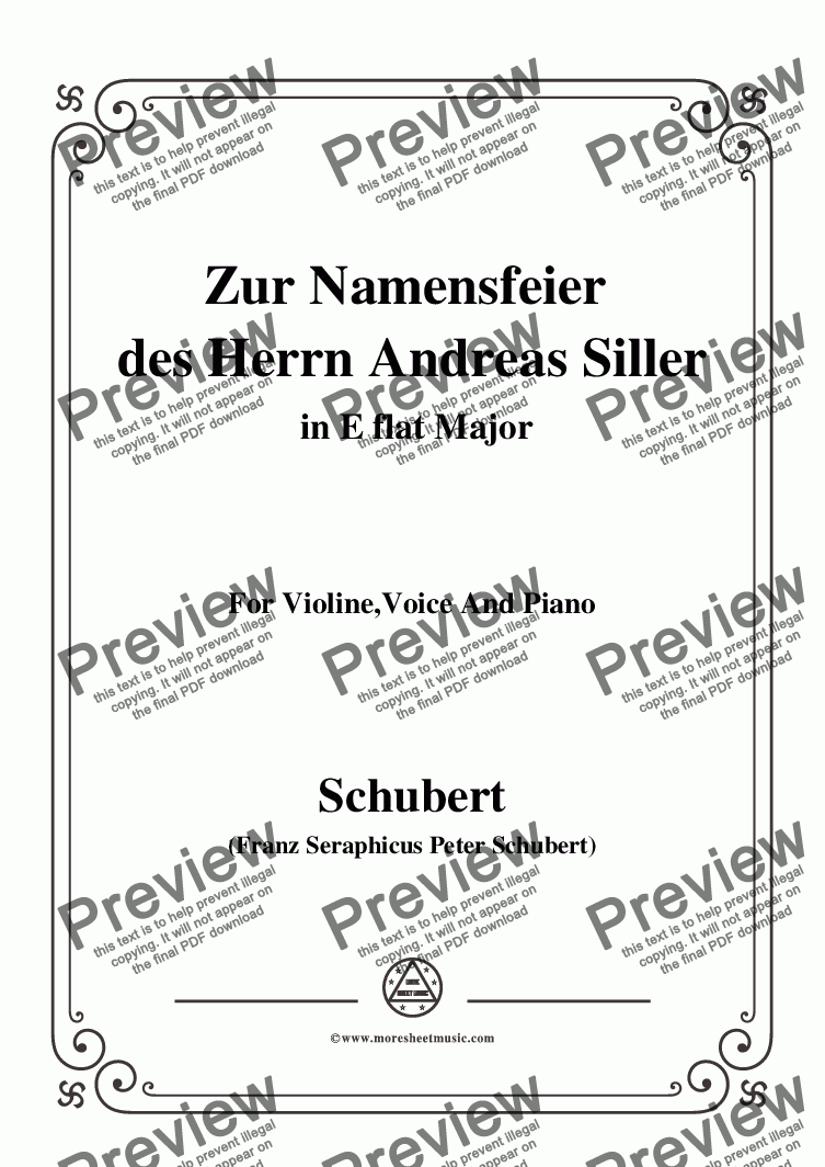 page one of Schubert-Zur Namensfeier des Herrn Andreas Siller,in E flat Major,for Violin,Voice&Piano