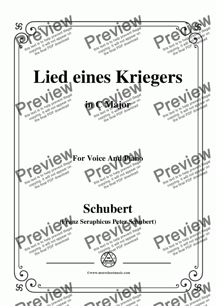 page one of Schubert-Lied eines Kriegers,D.822,in C Major,for Voice and Piano