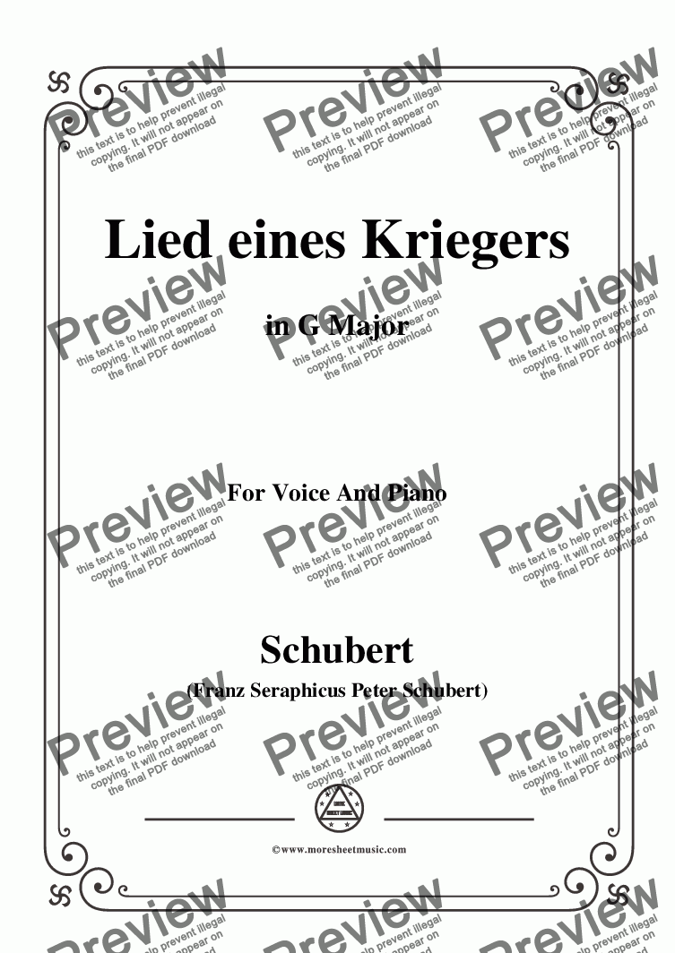 page one of Schubert-Lied eines Kriegers,D.822,in G Major,for Voice and Piano