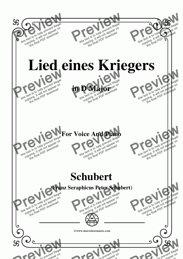 page one of Schubert-Lied eines Kriegers,D.822,in D Major,for Voice and Piano