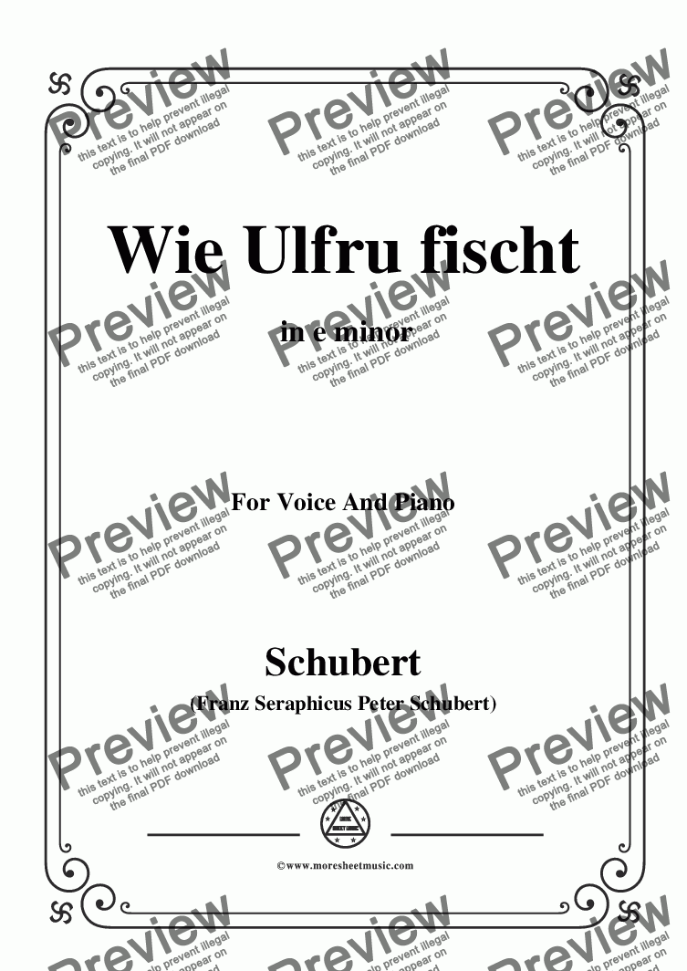 page one of Schubert-Wie Ulfru fischt,in e minor,Op.21,No.3,for Voice and Piano