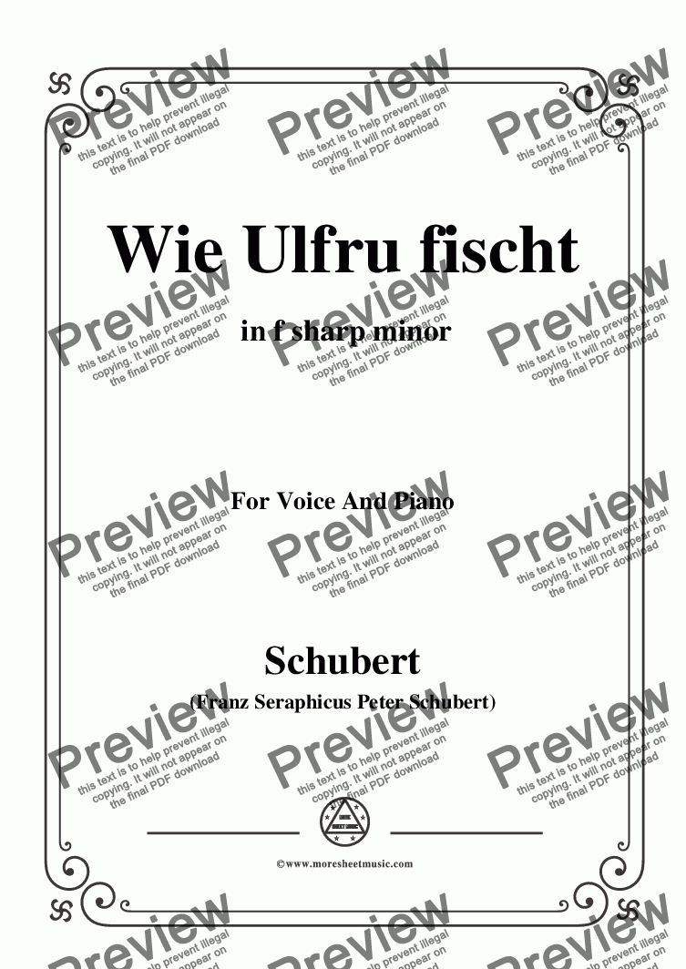 page one of Schubert-Wie Ulfru fischt,in f sharp minor,Op.21,No.3,for Voice and Piano