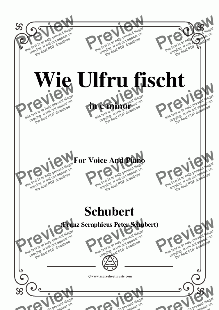 page one of Schubert-Wie Ulfru fischt,in c minor,Op.21,No.3,for Voice and Piano