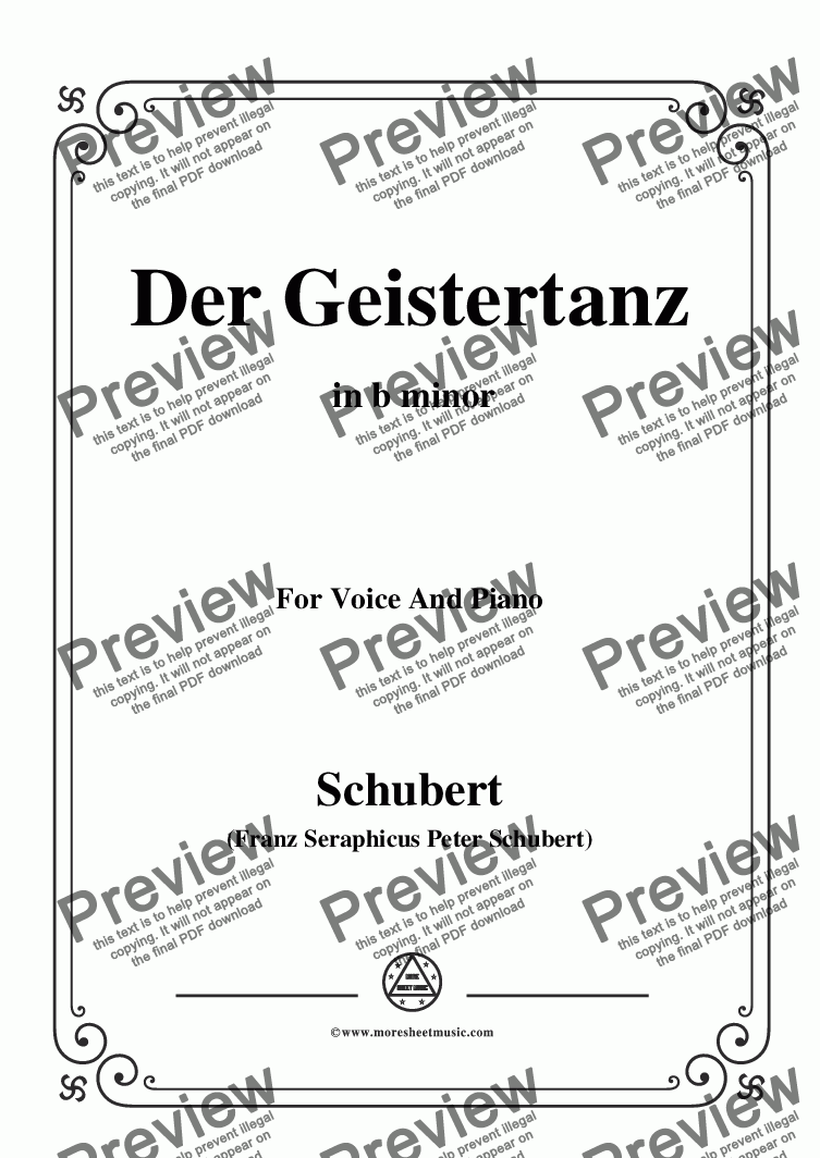 page one of Schubert-Der Geistertanz,,in b minor,for Voice and Piano