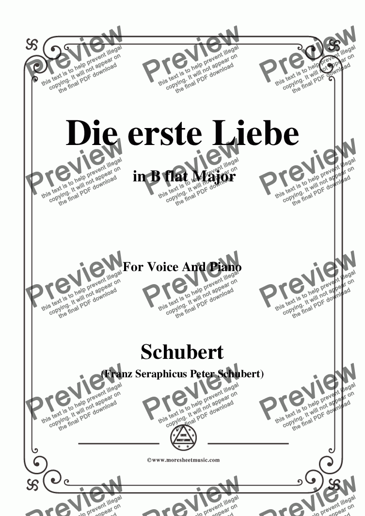 page one of Schubert-Die Erste Liebe,in B flat Major,for Voice and Piano