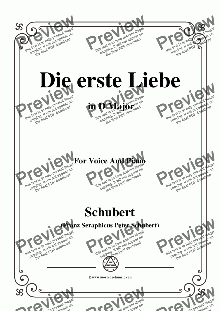 page one of Schubert-Die Erste Liebe,in D Major,for Voice and Piano