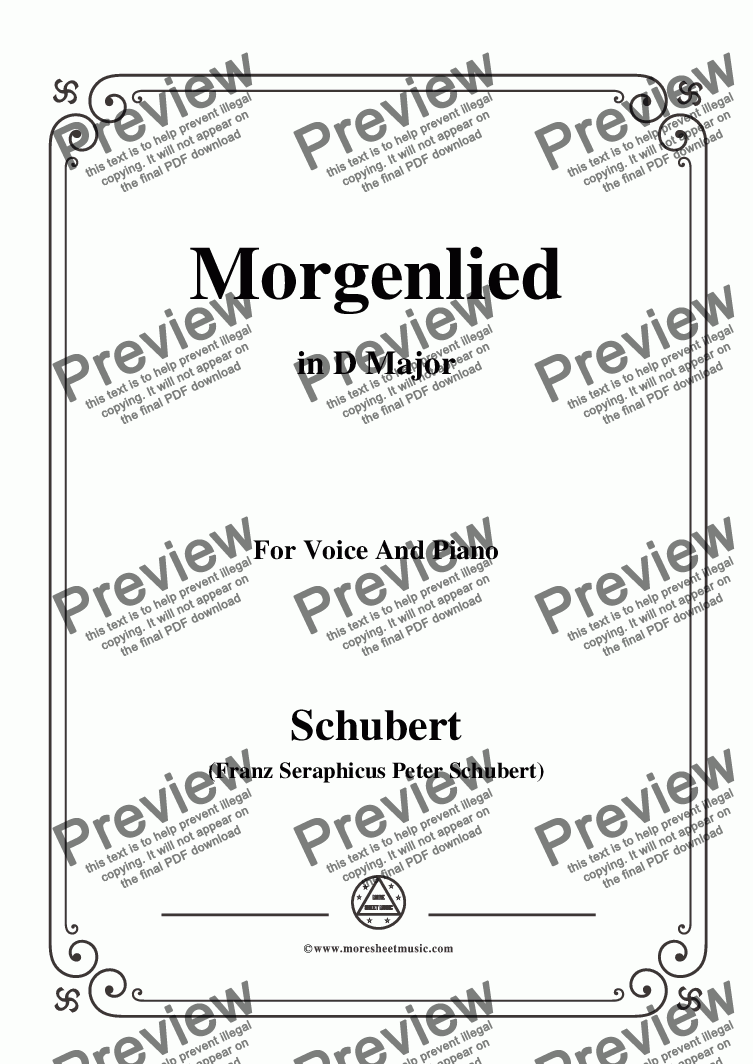page one of Schubert-Morgenlied,in D Major,for Voice and Piano