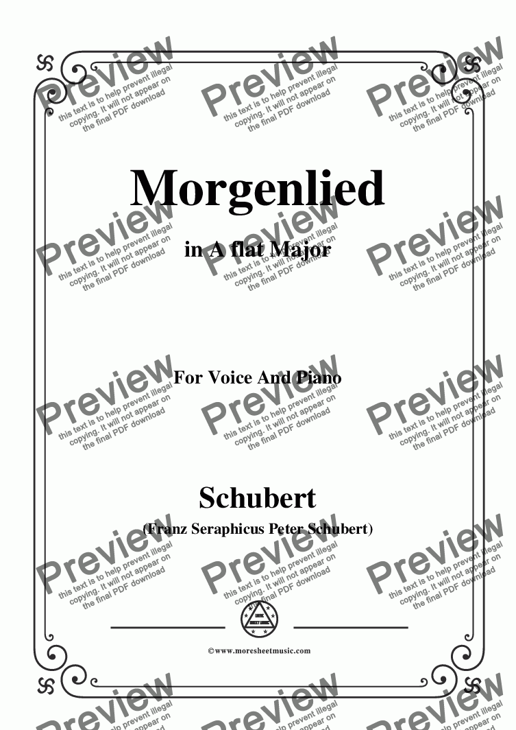 page one of Schubert-Morgenlied,in A flat Major,for Voice and Piano