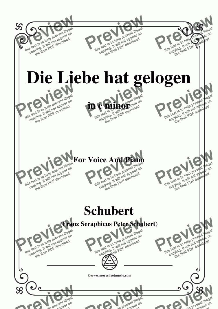 page one of Schubert-Die Liebe hat gelogen,in e minor,Op.23,No.1,for Voice and Piano