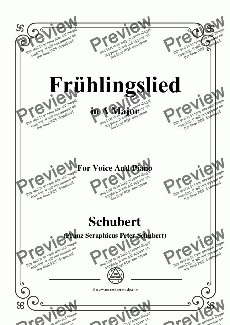 page one of Schubert-Frühlingslied,in A Major,for Voice and Piano