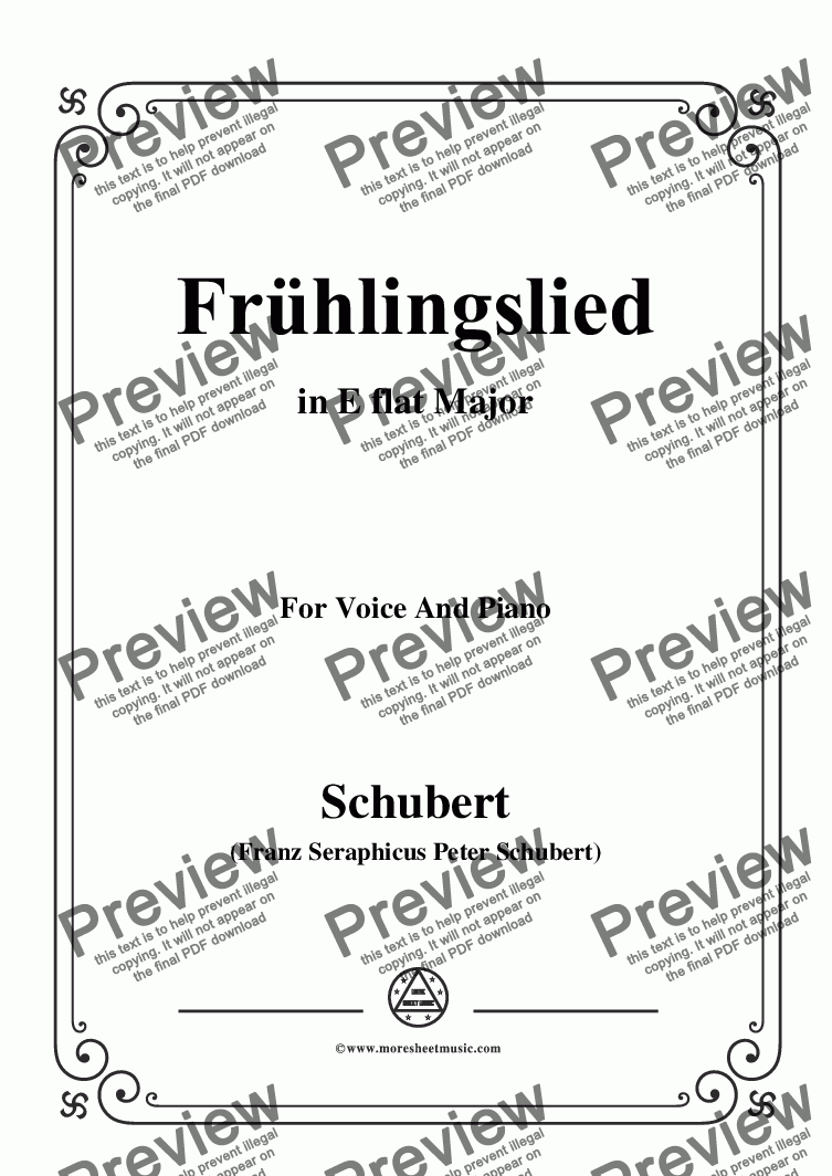 page one of Schubert-Frühlingslied,in E flat Major,for Voice and Piano
