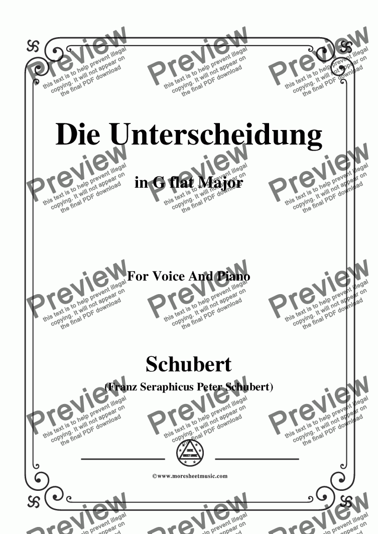 page one of Schubert-Die Unterscheidung,Op.95,No.1,in G flat Major,for Voice and Piano