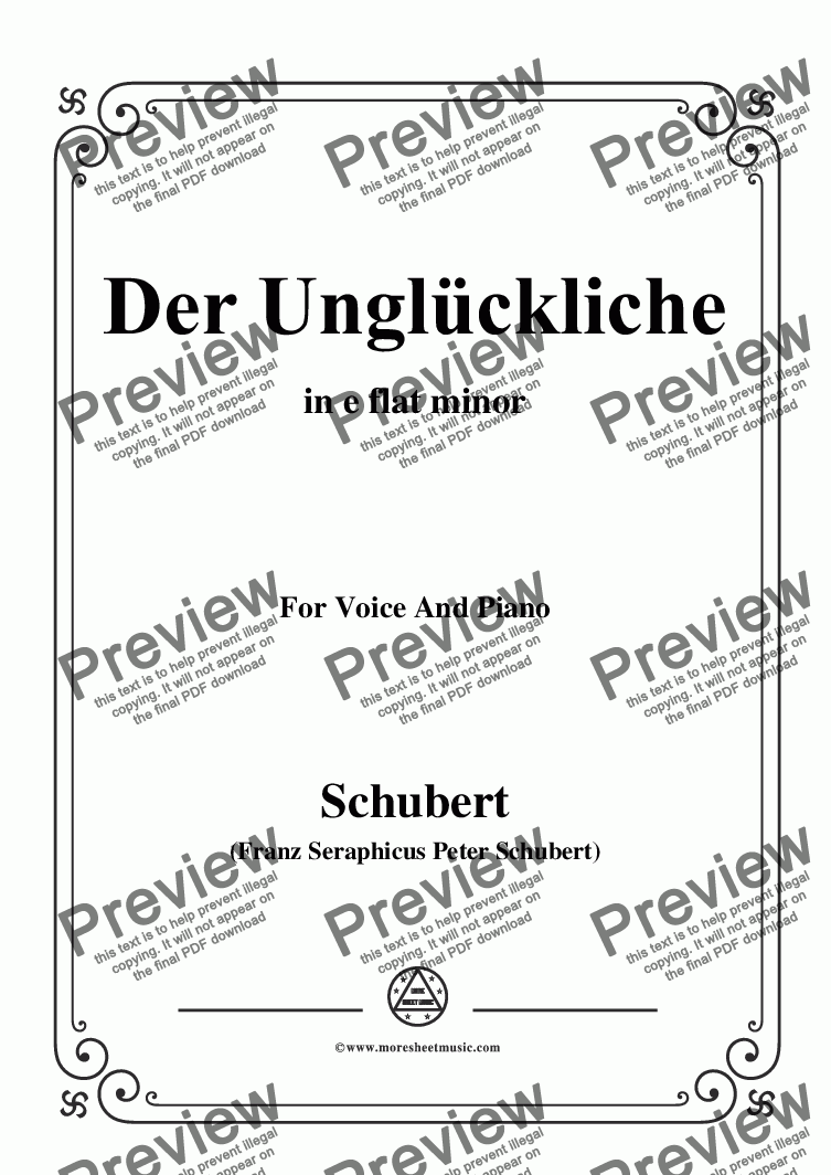 page one of Schubert-Der Unglückliche,in e flat minor,Op.87,No.1,for Voice and Piano