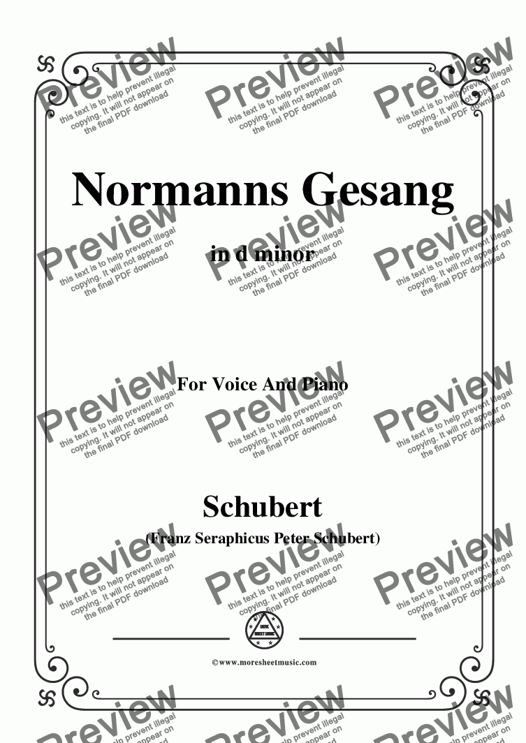 page one of Schubert-Normanns Gesang,in d minor,Op.52,No.5,for Voice and Piano