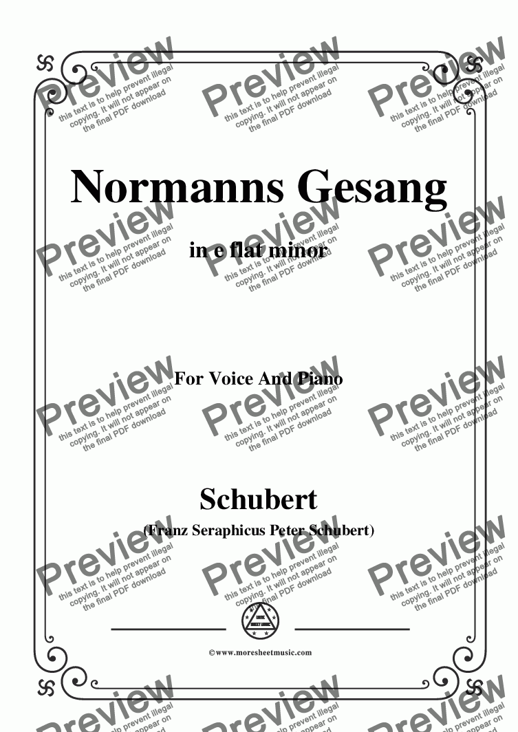 page one of Schubert-Normanns Gesang,in e flat minor,Op.52,No.5,for Voice and Piano