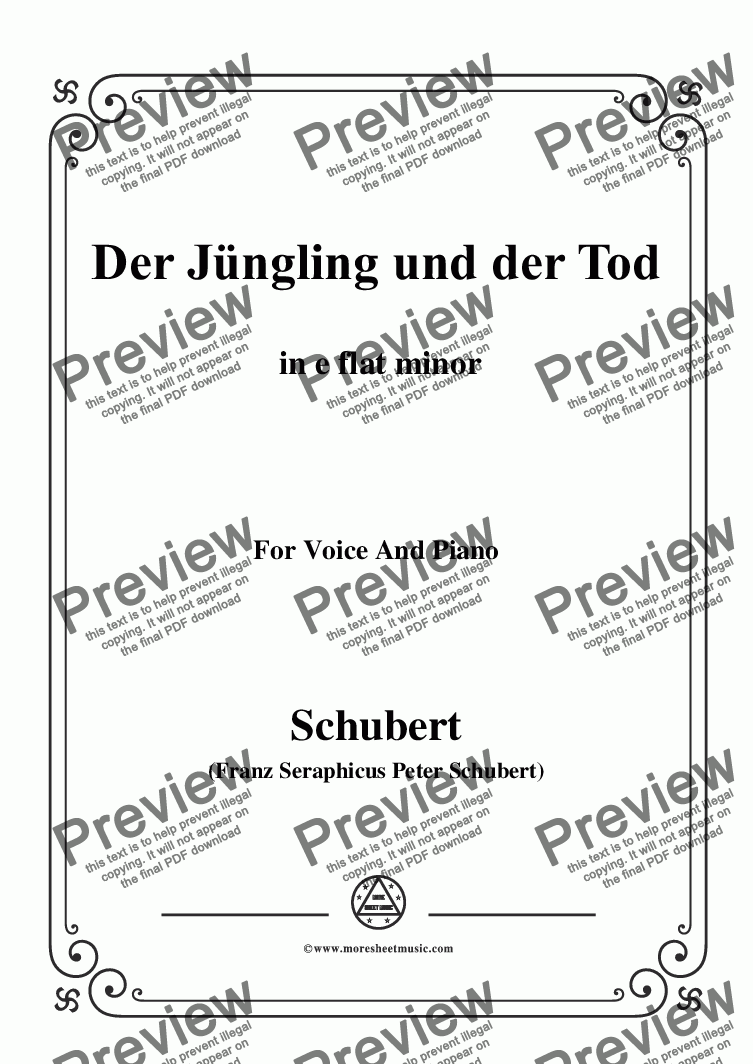 page one of Schubert-Der Jüngling und der Tod,in e flat minor,D.545,for Voice and Piano