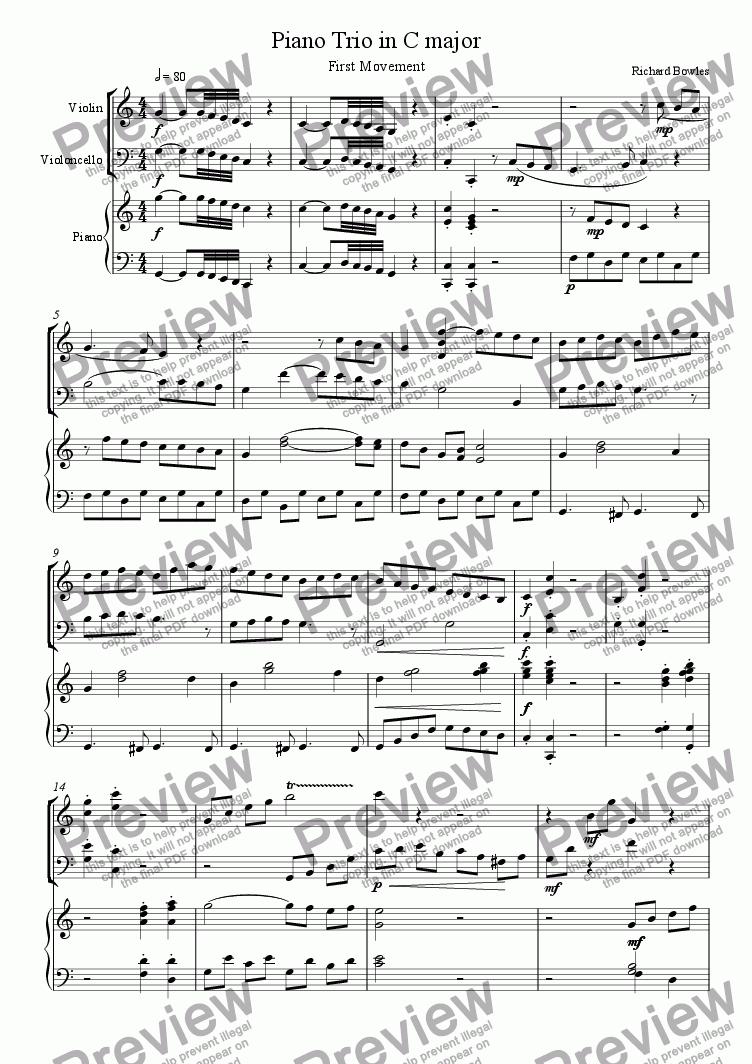 page one of C Major Piano Trio - First Movement