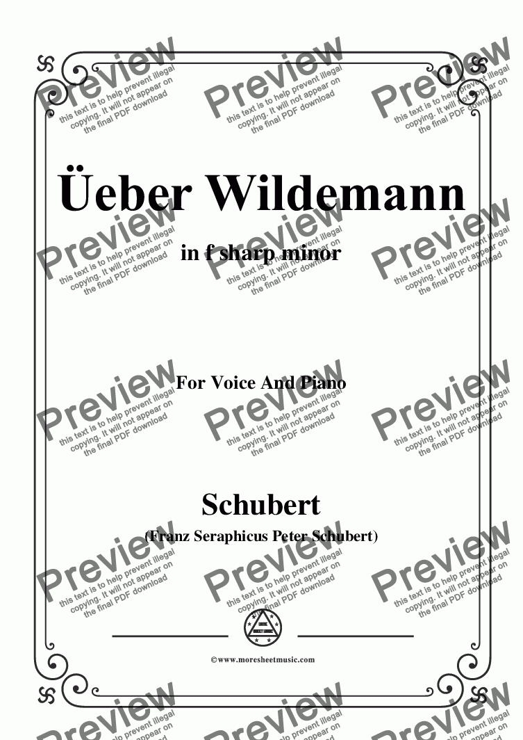 page one of Schubert-Über Wildemann,in f sharp minor,Op.108 No.1,for Voice and Piano