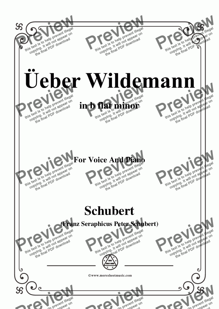 page one of Schubert-Über Wildemann,in b flat minor,Op.108 No.1,for Voice and Piano