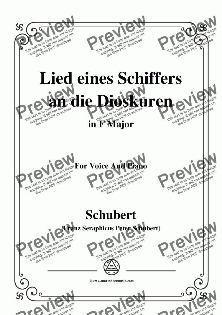 page one of Schubert-Lied eines Schiffers an die Dioskuren,in F Major,Op.65 No.1,for Voice&Piano