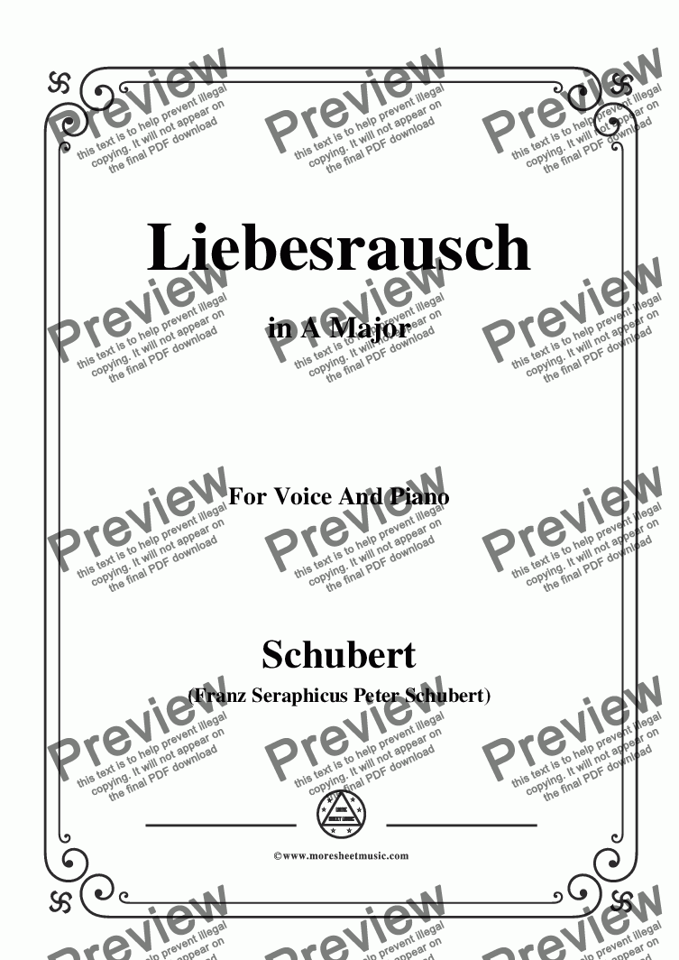 page one of Schubert-Liebesrausch,in A Major,for Voice and Piano