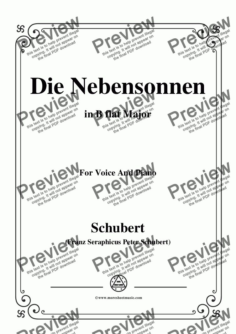 page one of Schubert-Die Nebensonnen,in B flat Major,Op.89 No.23,for Voice and Piano