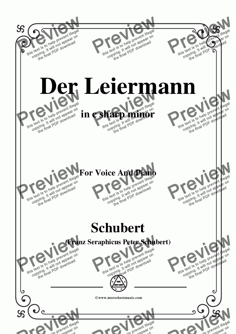 page one of Schubert-Der Leiermann,in c sharp minor,Op.89 No.24,for Voice and Piano