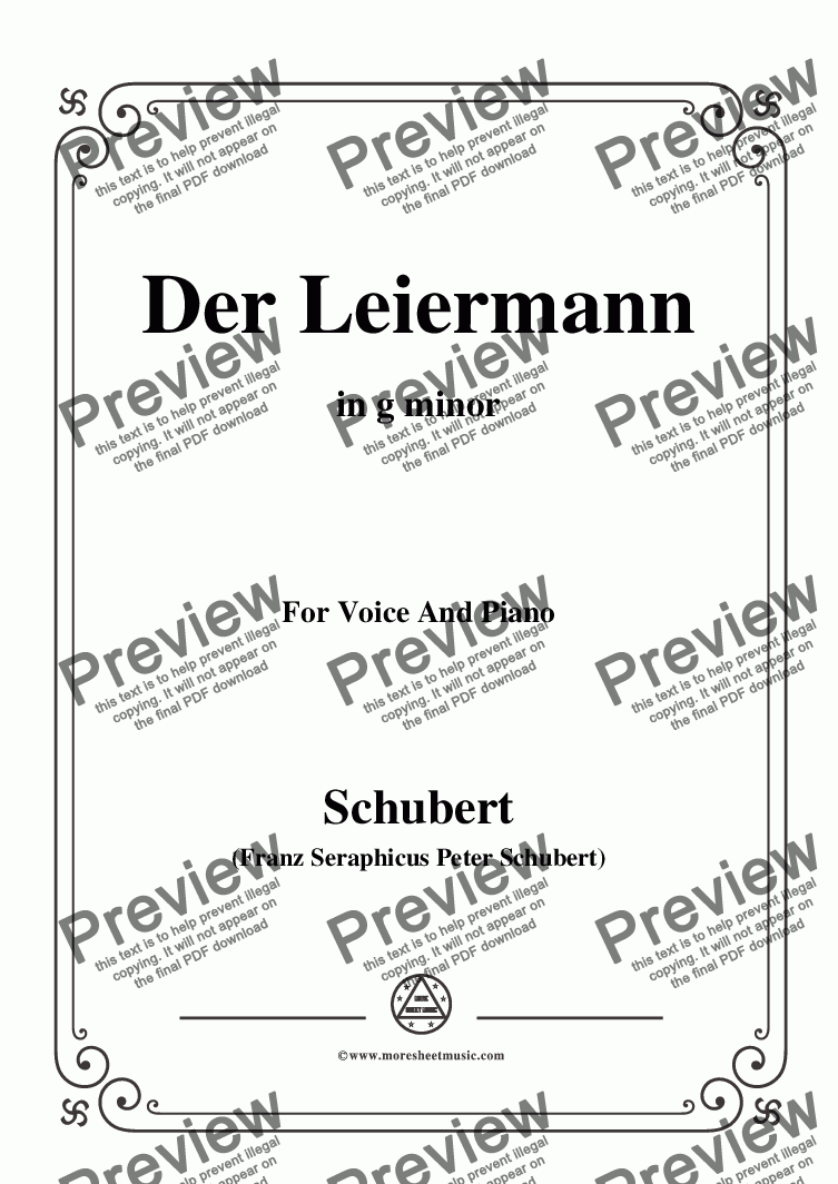 page one of Schubert-Der Leiermann,in g minor,Op.89 No.24,for Voice and Piano