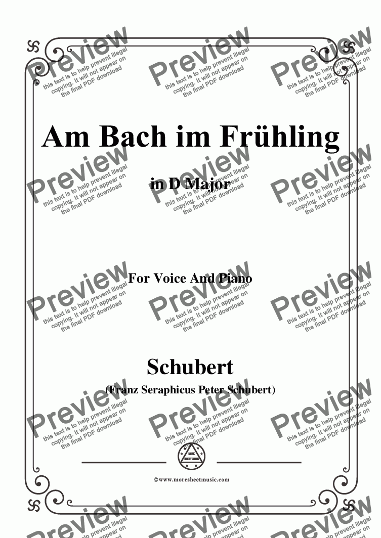 page one of Schubert-Am Bach im Frühling,in D Major,Op.109 No.1,for Voice and Piano