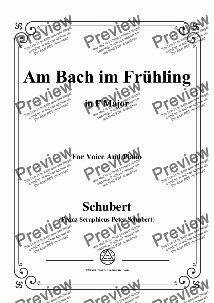 page one of Schubert-Am Bach im Frühling,in F Major,Op.109 No.1,for Voice and Piano