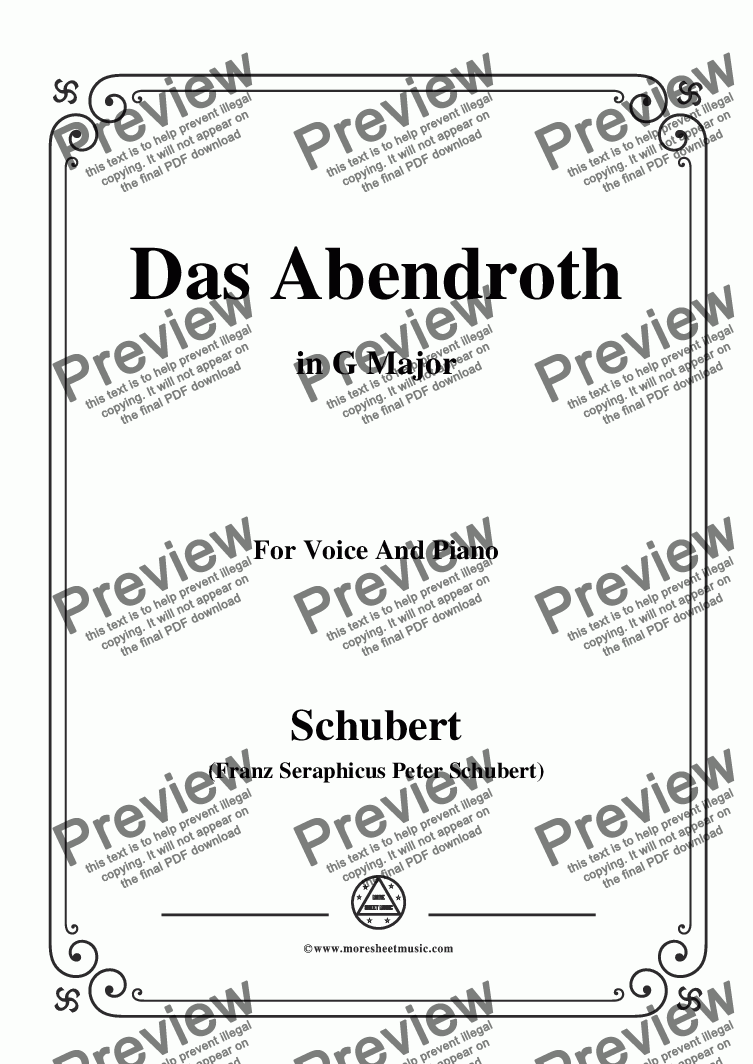 page one of Schubert-Das Abendroth,in G Major,Op.173 No.6,for Voice and Piano