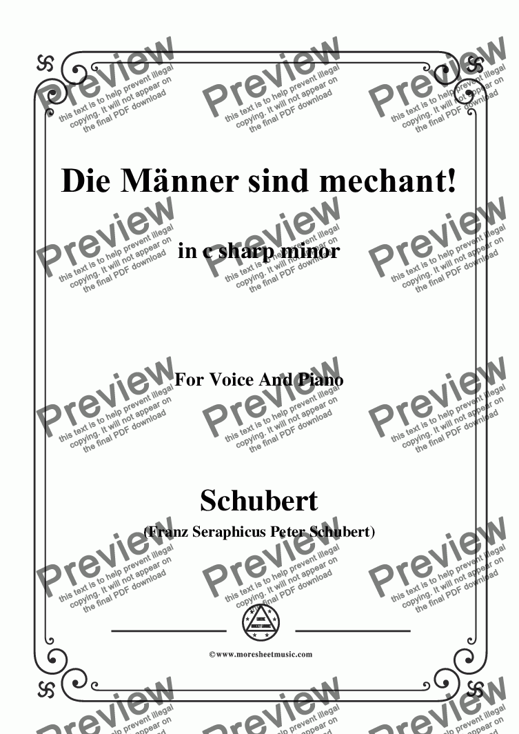 page one of Schubert-Die Männer sind mechant!,in c sharp minor,Op.95 No.3,for Voice&Piano