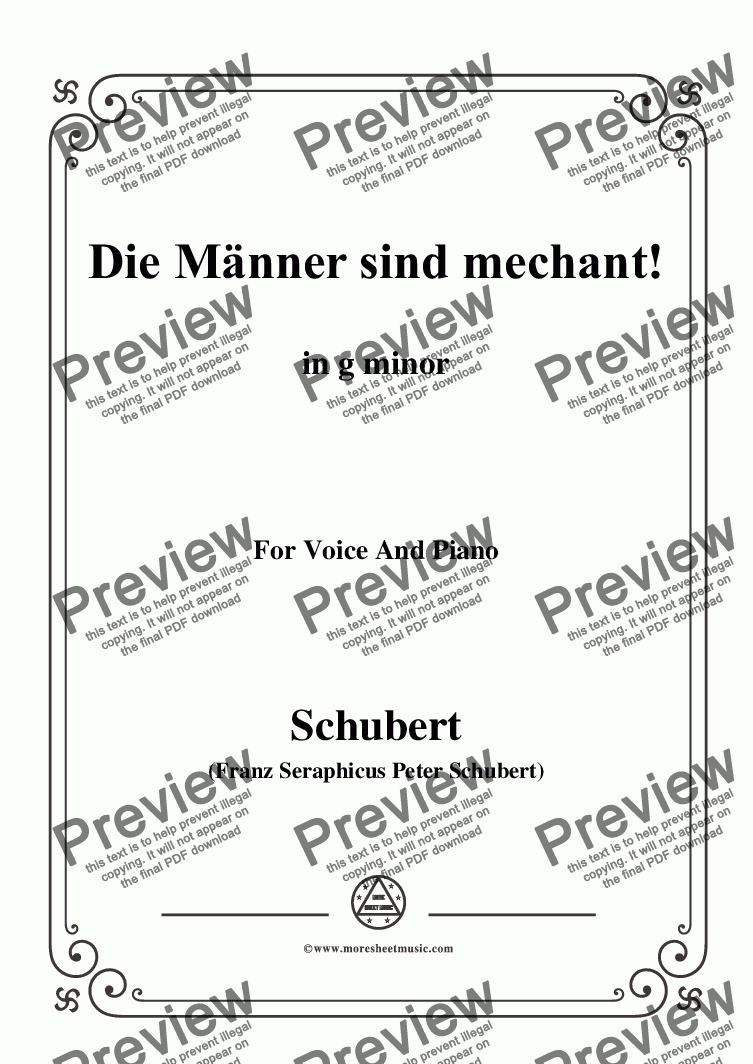 page one of Schubert-Die Männer sind mechant!,in g minor,Op.95 No.3,for Voice&Piano
