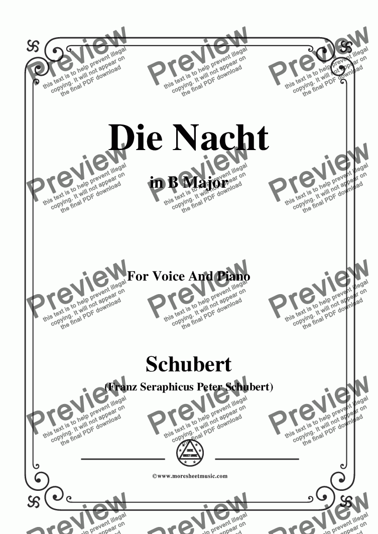 page one of Schubert-Die Nacht,in B Major,D.358,for Voice and Piano