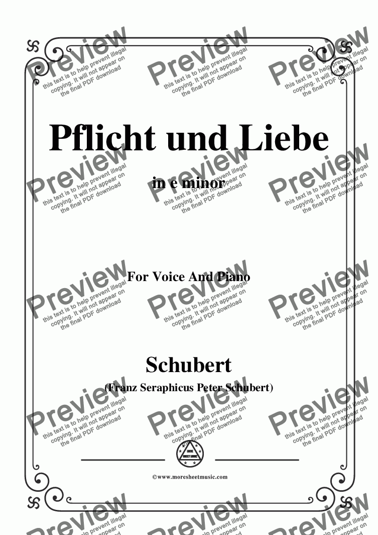 page one of Schubert-Pflicht und Liebe,in e minor,for Voice and Piano