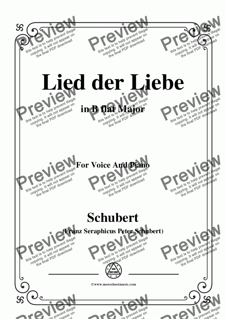 page one of Schubert-Lied der Liebe,in B flat Major,for Voice and Piano