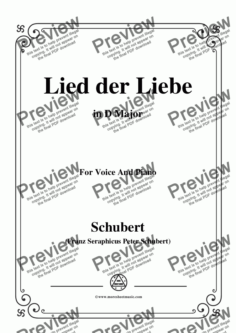 page one of Schubert-Lied der Liebe,in D Major,for Voice and Piano