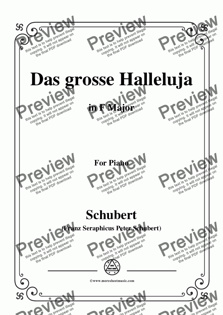 page one of Schubert-Das Grosse Halleluja,in F Major,for Voice and Piano