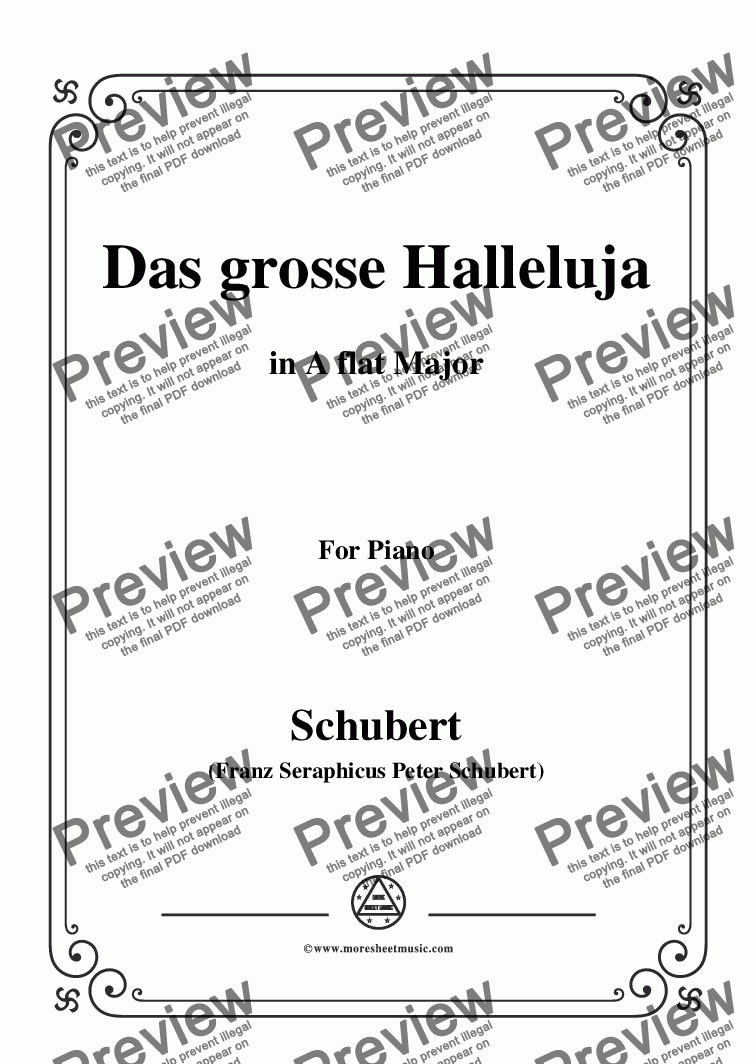 page one of Schubert-Das Grosse Halleluja,in A flat Major,for Voice and Piano