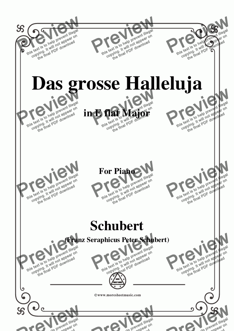 page one of Schubert-Das Grosse Halleluja,in E flat Major,for Voice and Piano