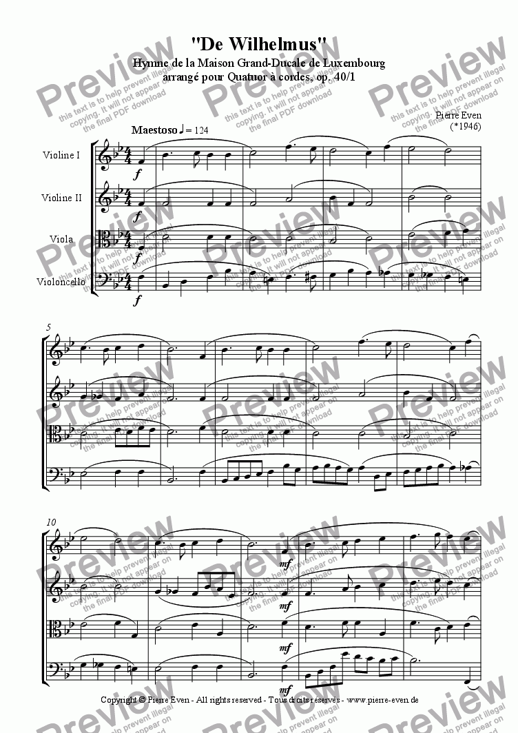 page one of De Wilhelmus, Anthem of the grand-ducal Family of Luxembourg, for String Quartet