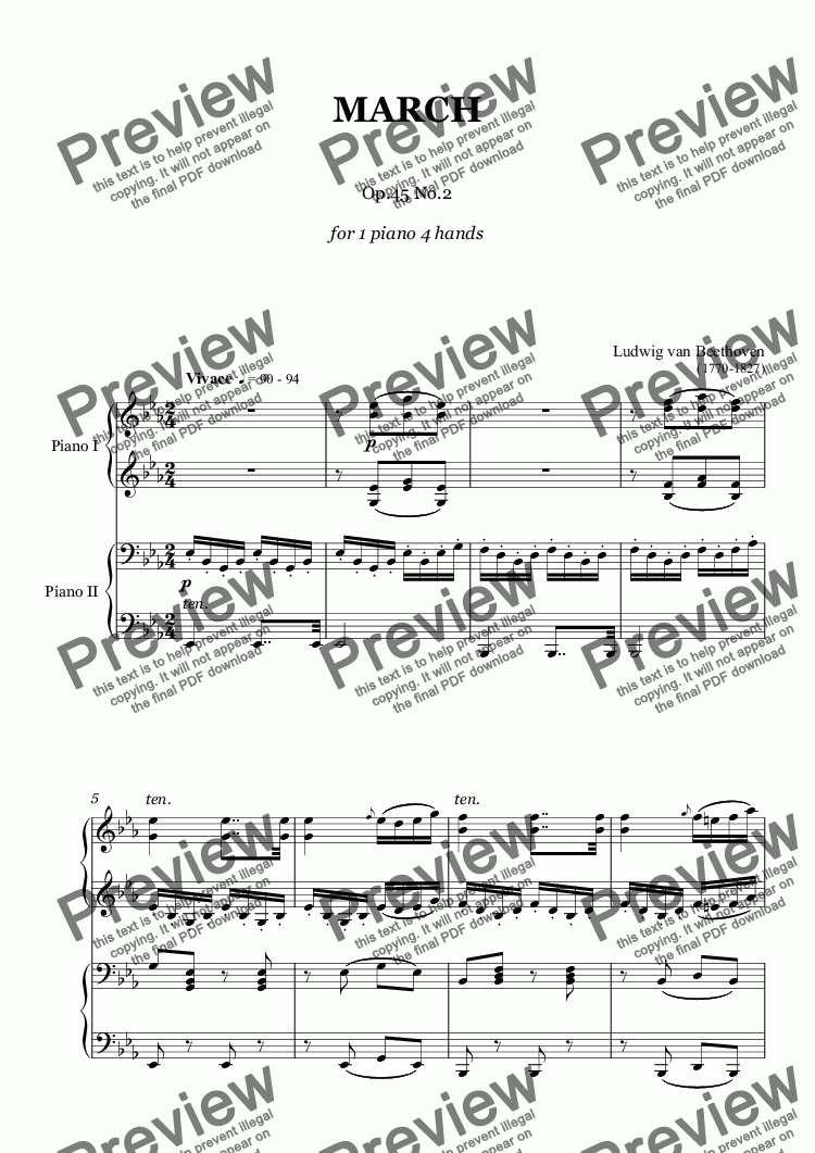 page one of Beethoven - March, Op.45 No.2 - piano 4 hands