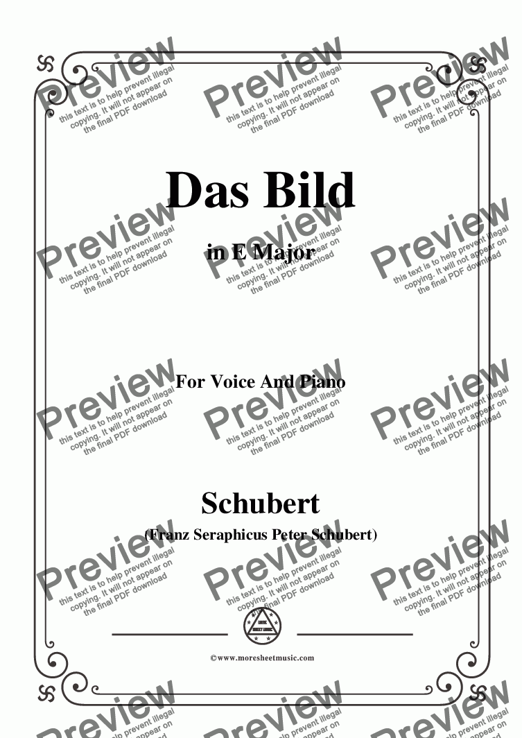 page one of Schubert-Das Bild,in E Major,Op.165 No.3,for Voice and Piano