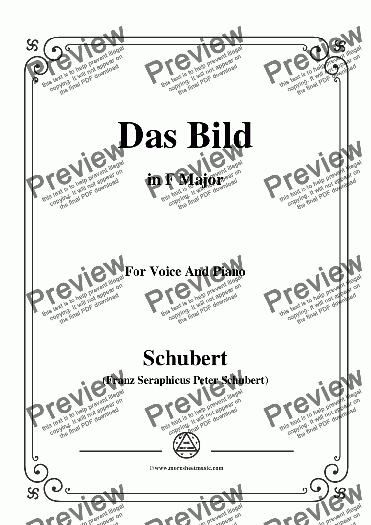 page one of Schubert-Das Bild,in F Major,Op.165 No.3,for Voice and Piano