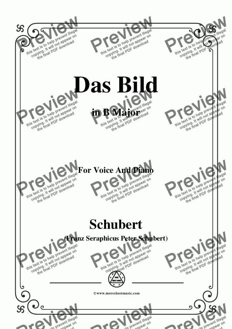 page one of Schubert-Das Bild,in B Major,Op.165 No.3,for Voice and Piano
