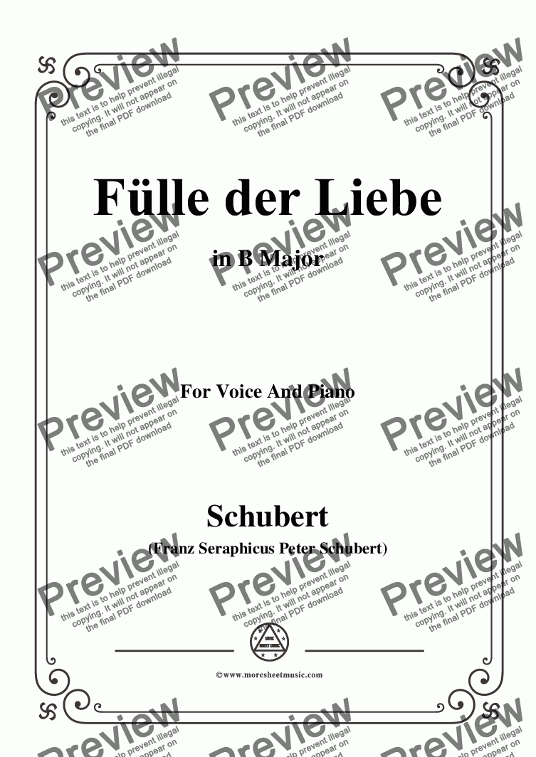 page one of Schubert-Fülle der Liebe,in B Major,for Voice and Piano