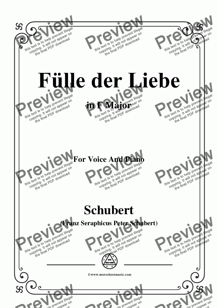 page one of Schubert-Fülle der Liebe,in F Major,for Voice and Piano