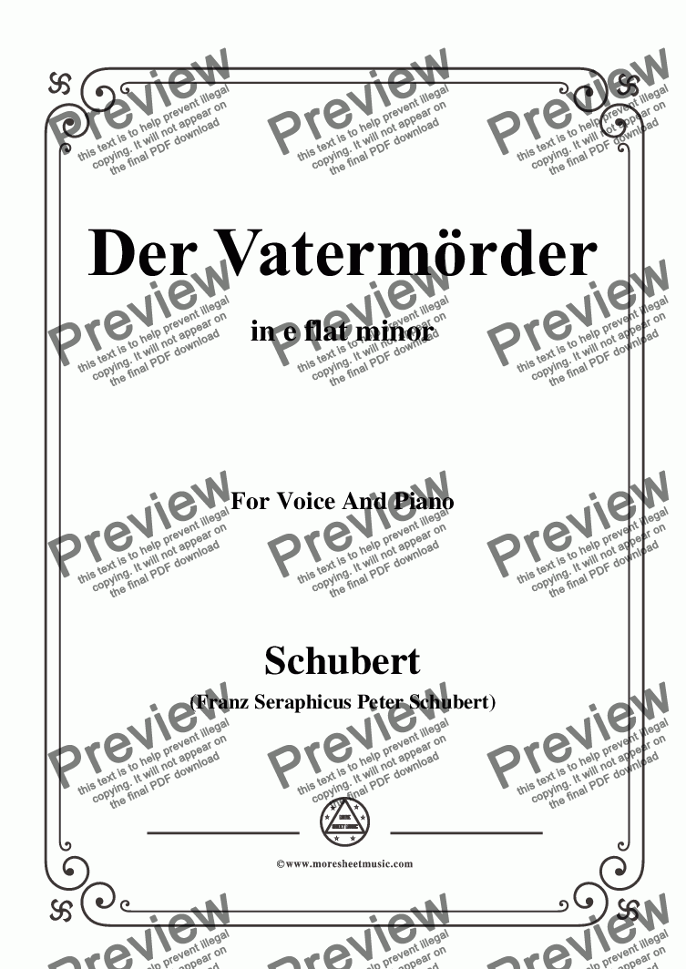 page one of Schubert-Der Vatermörder,in e flat minor,for Voice and Piano