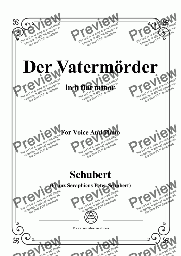 page one of Schubert-Der Vatermörder,in b flat minor,for Voice and Piano