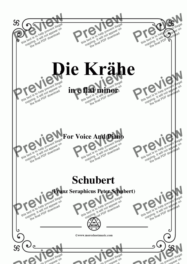 page one of Schubert-Die Krähe,in e flat minor,Op.89 No.15,for Voice and Piano